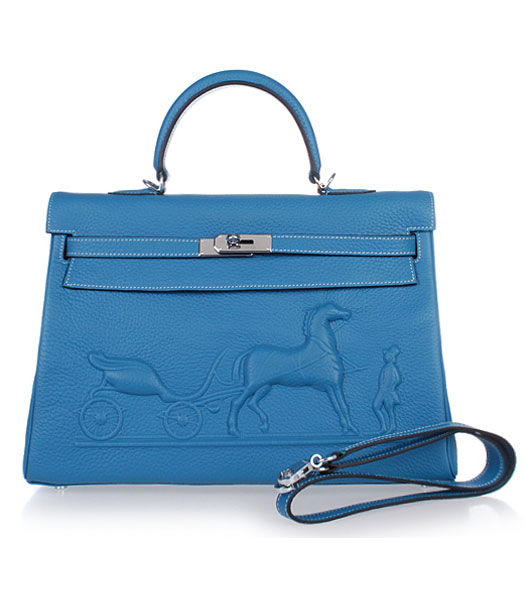 Hermes Kelly 35cm Horse-drawn Carriage Blue Togo Leather Handbags Silver Metal