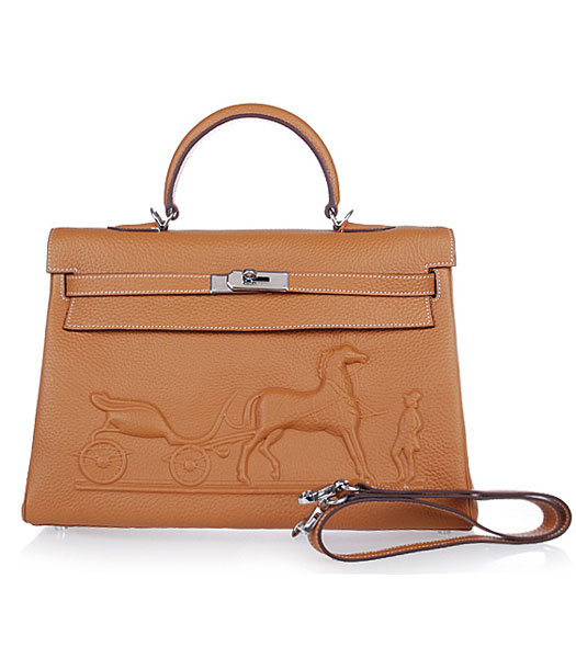 Hermes Kelly 35cm Horse-drawn Carriage Light Coffee Togo Leather Handbags Silver Metal
