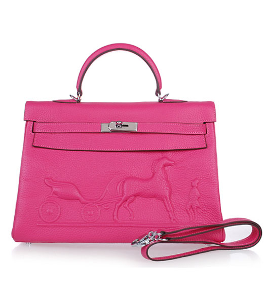 Hermes Kelly 35cm Horse-drawn Carriage Fuchsia Togo Leather Handbags Silver Metal