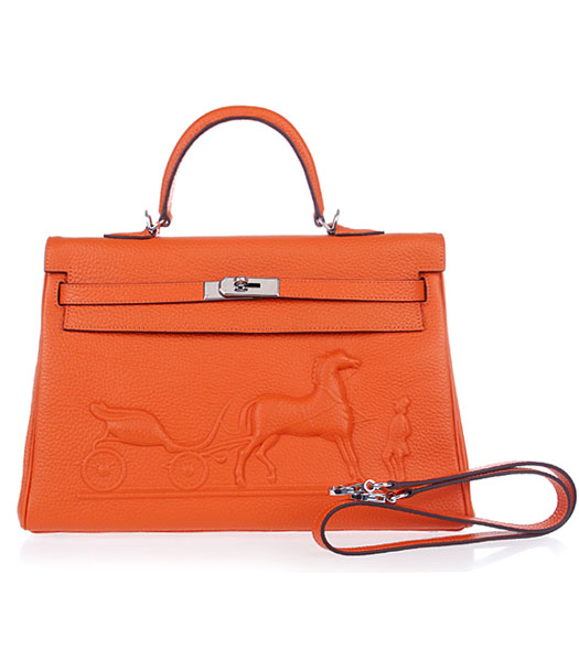 Hermes Kelly 35cm Horse-drawn Carriage Orange Togo Leather Handbags Silver Metal