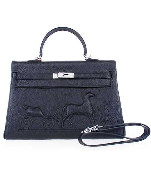 Hermes Kelly 35cm Horse-drawn Carriage Black Togo Leather Handbags Silver Metal