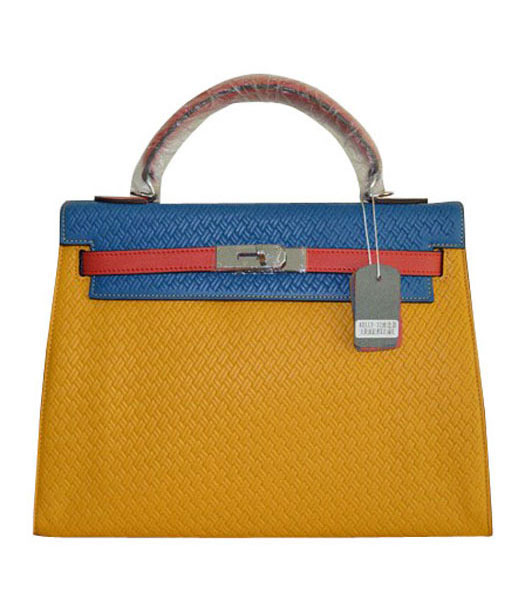 Hermes Kelly 35CM Yellow/Blue Plait Veins Leather Bag