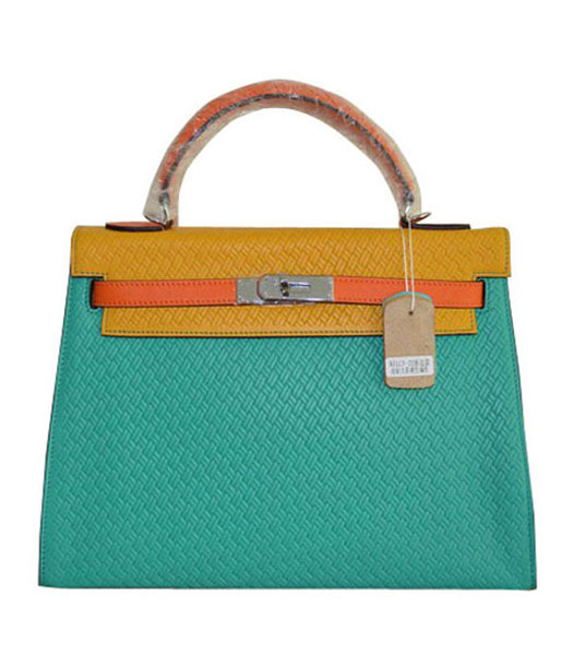 Hermes Kelly 35CM Green/Yellow Plait Veins Leather Bag
