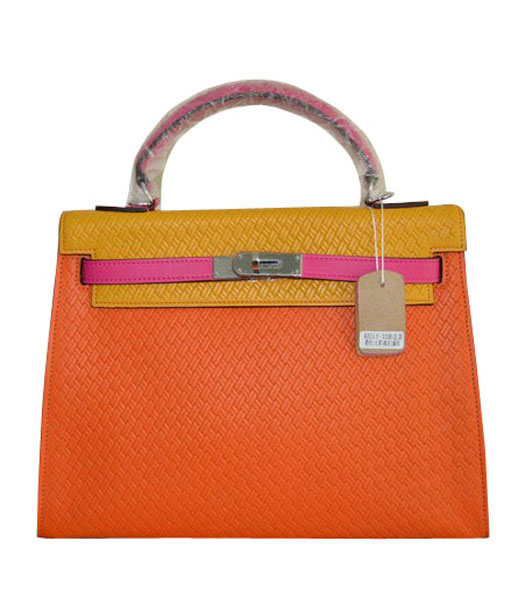 Hermes Kelly 35CM Orange/Yellow Plait Veins Leather Bag