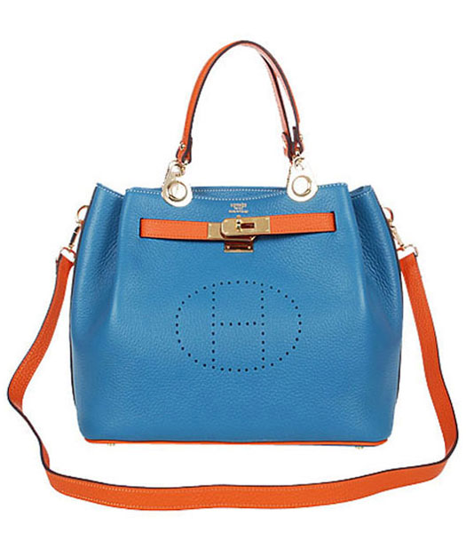 Hermes Mini Kelly 35CM Handbags In Two-Tone Middle Blue Leather