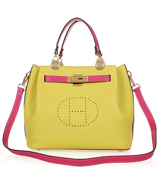 Hermes Mini Kelly 35CM Handbags In Two-Tone Lemon Yellow Leather
