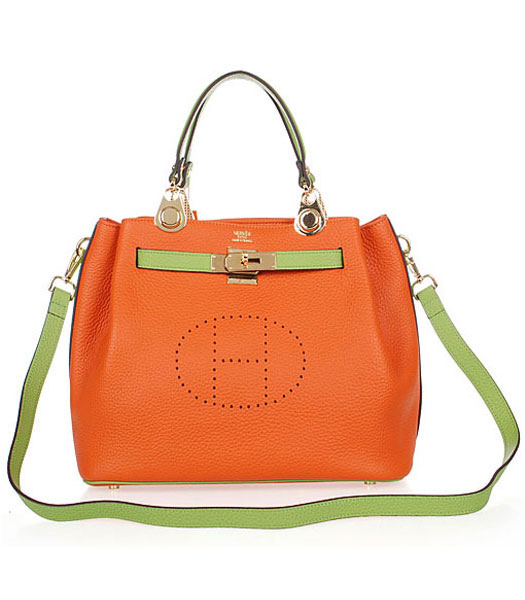 Hermes Mini Kelly 35CM Handbags In Two-Tone Orange Leather