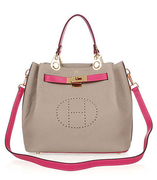 Hermes Mini Kelly 35CM Handbags In Two-Tone Grey Leather