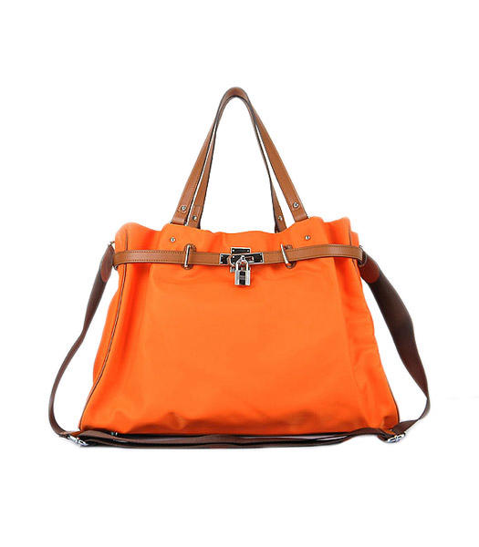 Hermes Large Orange Waterproof Fabric With Light Coffee Calfskin Shoulder Bag