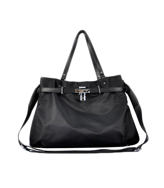 Hermes Large Black Waterproof Fabric With Calfskin Shoulder Bag