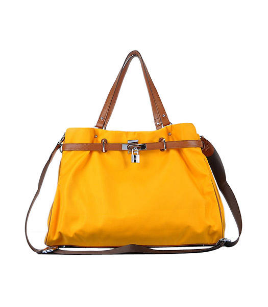 Hermes Large Yellow Waterproof Fabric With Light Coffee Calfskin Shoulder Bag