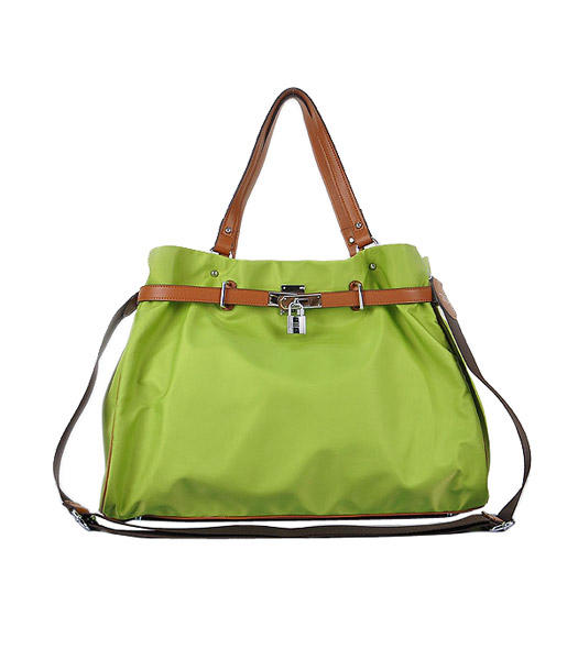 Hermes Large Green Waterproof Fabric With Light Coffee Calfskin Shoulder Bag