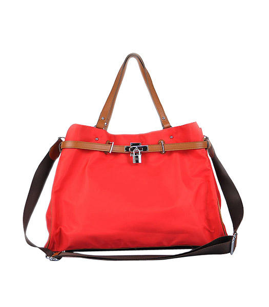 Hermes Large Red Waterproof Fabric With Light Coffee Calfskin Shoulder Bag