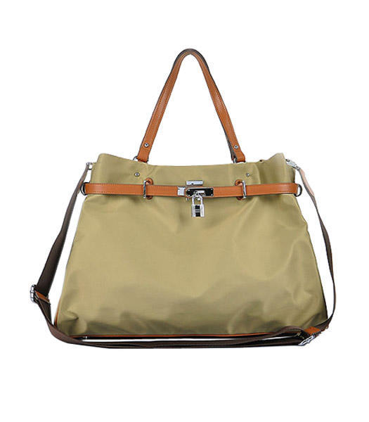 Hermes Large Apricot Waterproof Fabric With Light Coffee Calfskin Shoulder Bag
