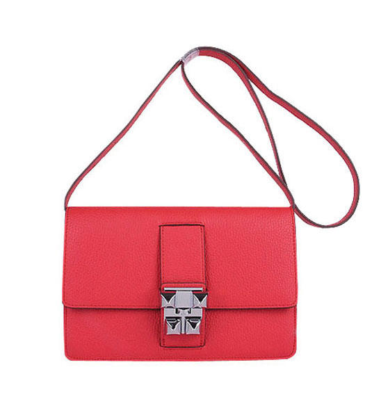 Hermes Constance Watermelon Red Leather Shoulder Bags with Silver Metal