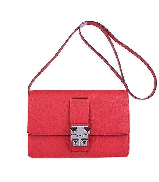 Hermes Constance Watermelon Red Leather Shoulder Bags with Golden Metal