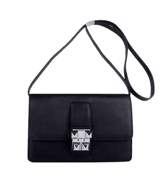 Hermes Constance Watermelon Black Leather Shoulder Bags with Silver Metal