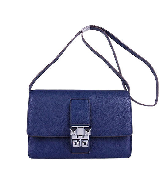 Hermes Constance Watermelon Dark Blue Leather Shoulder Bags with Silver Metal