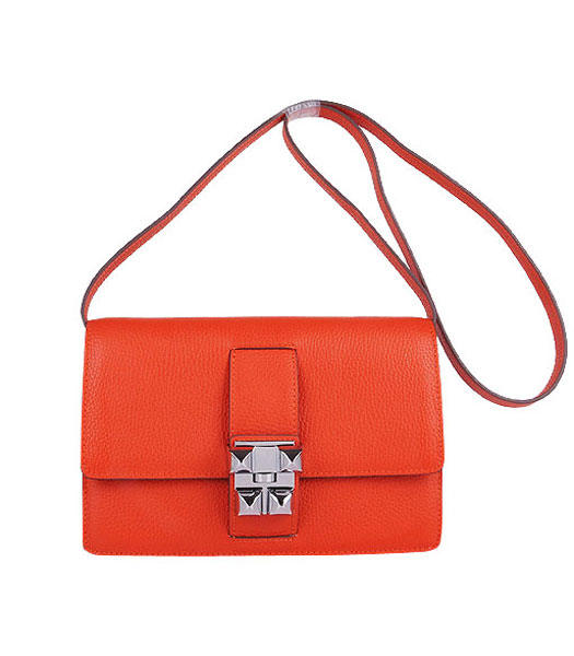 Hermes Constance Watermelon Light Orange Leather Shoulder Bags with Silver Metal