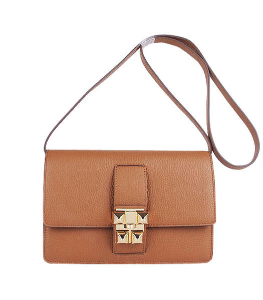 Hermes Constance Watermelon Light Coffee Leather Shoulder Bags with Golden Metal