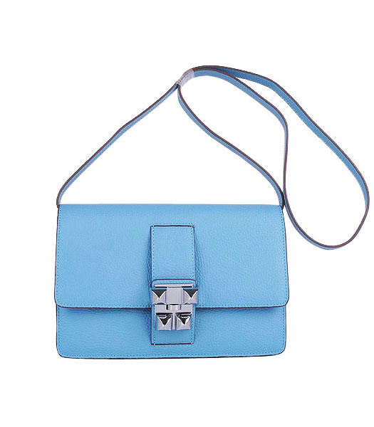Hermes Constance Watermelon Light Blue Leather Shoulder Bags with Silver Metal