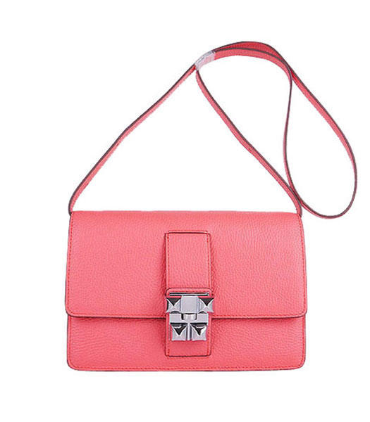 Hermes Constance Watermelon Light Watermelon Red Leather Shoulder Bags with Silver Metal