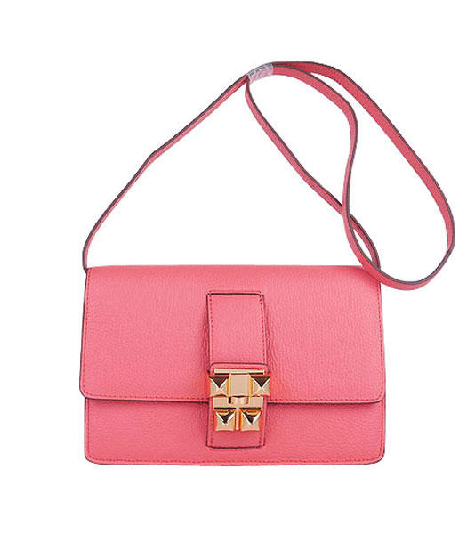 Hermes Constance Watermelon Light Watermelon Red Leather Shoulder Bags with Golden Metal