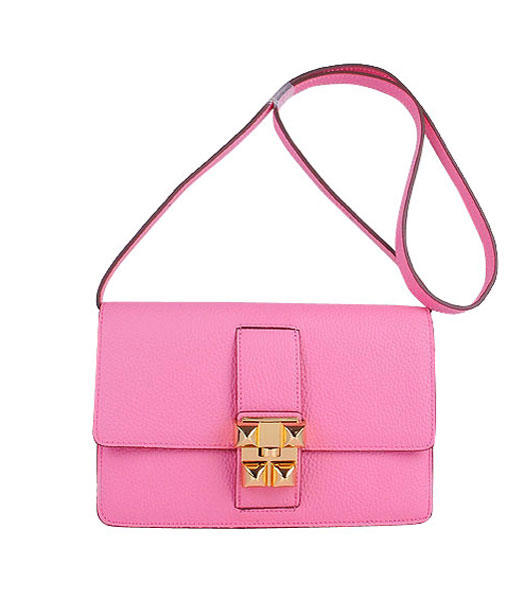 Hermes Constance Watermelon Sakura Pink Leather Shoulder Bags with Golden Metal