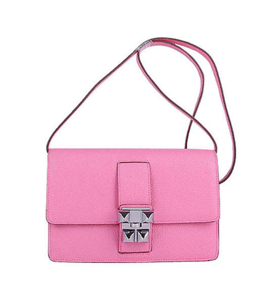 Hermes Constance Watermelon Sakura Pink Leather Shoulder Bags with Silver Metal