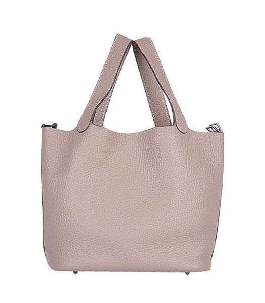 Hermes Picotin Lock MM Basket Bags With Grey Leather