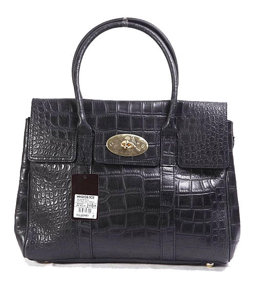 Mulberry Bayswater Black Croc Veins Leather Tote Bag