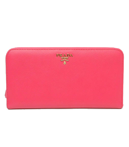 Prada Saffiano Fuchsia Cross Veins Calfskin Long Wallet