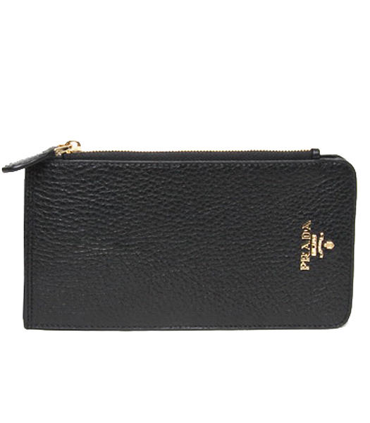 Prada Black Leather Card Wallet