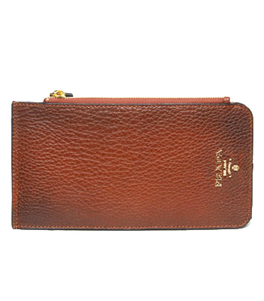 Prada Coffee Leather Card Wallet