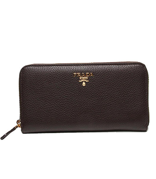 Prada Gaufre Dark Coffee Original Leather Zip Wallet