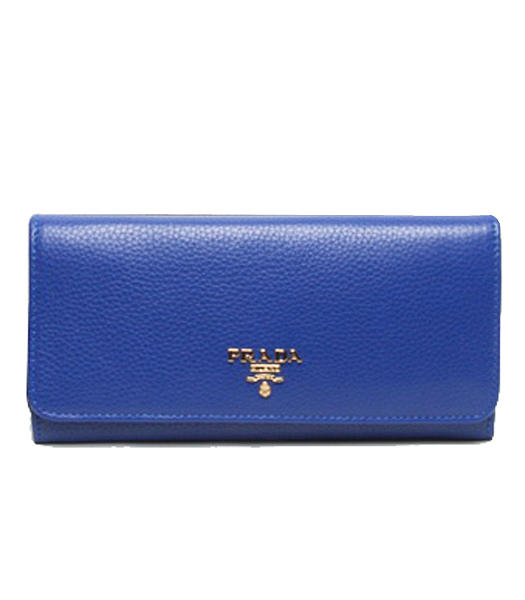 Prada Gaufre Electric Blue Original Leather Long Fold Wallet