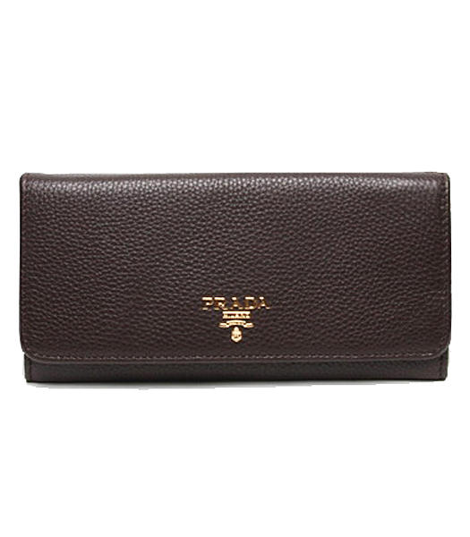 Prada Gaufre Dark Coffee Original Leather Long Fold Wallet