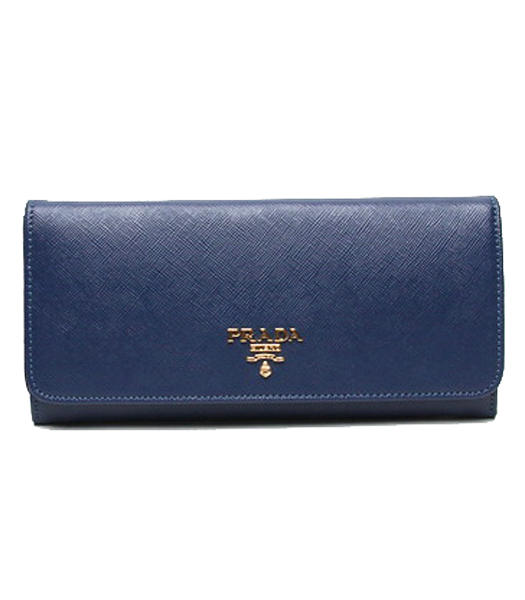 Prada Gaufre Sapphire Blue Cross Veins Leather Long Fold Wallet