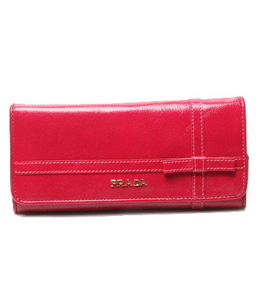 Prada Small Bowknot Long Fold Wallet With Fuchsia Oil Leather