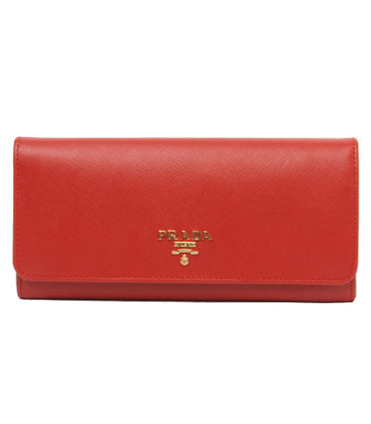Prada Long Fold Wallet With Red Cross Veins Leather