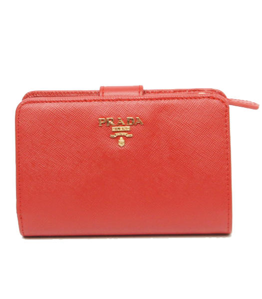 Prada Saffiano Red Cross Veins Leather Wallet