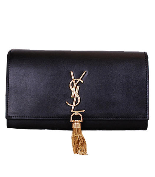 Yves Saint Laurent Monogramme Black Leather Clutch With Golden Chains Tassel