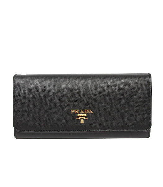 Prada Saffiano Metallic Gold Flap Wallet With Black Fabric Veins Leather