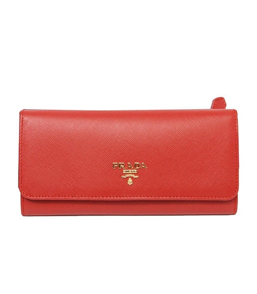 Prada Saffiano Metallic Gold Flap Wallet With Red Fabric Veins Leather