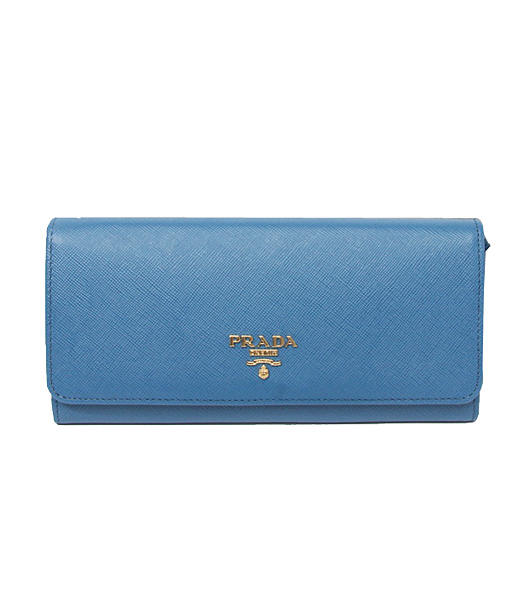 Prada Saffiano Metallic Gold Flap Wallet With Middle Blue Fabric Veins Leather