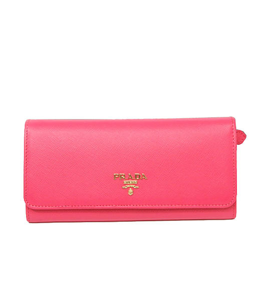 Prada Saffiano Metallic Gold Flap Wallet With Fuchsia Fabric Veins Leather