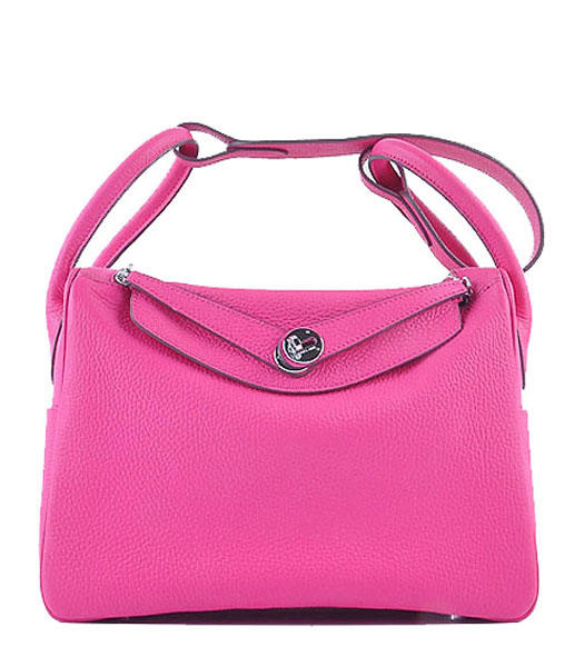 Hermes Lindy 30CM Grainy Leather Shoulder Bags in Rosy