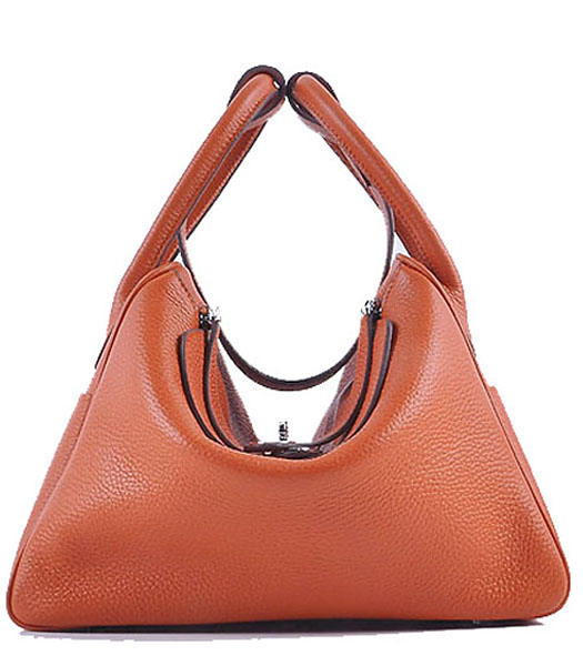 Hermes Lindy 30CM Grainy Leather Shoulder Bags in Orange