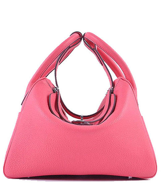 Hermes Lindy 30CM Grainy Leather Shoulder Bags in Lipstick Pink