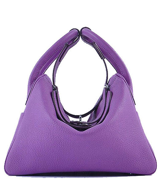 Hermes Lindy 30CM Grainy Leather Shoulder Bags in Purple/Pink
